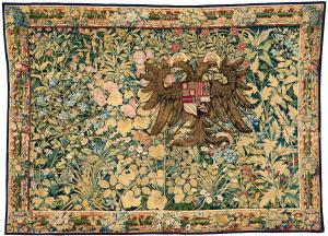 Willem de Pannemaker Tapestry Featuring the Arms of Emperor Charles V ca 1540 KHM Vienna