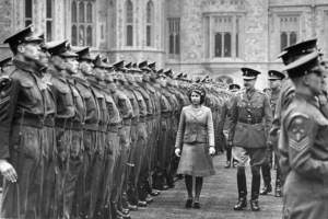 Princess Elizabeth (C) reviewing the Grenadier guards on her birthday.  (Photo by David E. Scherman//Time Life Pictures/Getty Images)