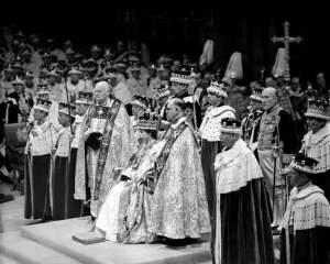 Royal engagement.File photo dated 02/06/53 of Queen Elizabeth II during her coronation in Westminster, London. Issue date: Thursday November 18, 2010. Westminster Abbey emerged today as the firm favourite to be the venue of Prince William's wedding after being visited by his bride-to-be, Kate Middleton. The 28-year-old paid a brief visit last night to the Abbey, which has hosted the weddings of the Queen and Queen Mother and was where the funeral of William's mother, Diana, Princess of Wales, was held. See PA story ROYAL Wedding. Photo credit should read: PA Wire URN:9798354 (Press Association via AP Images)