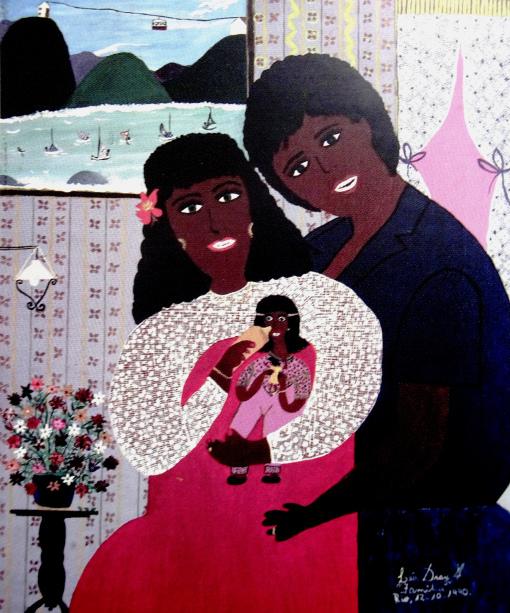 Lea Dray (Brasil, 1934) Família, 1990, ast, 54 x 65 cm
